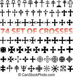 conjunto, cruces, vector