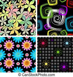 conjunto, cuatro, resumen, seamless, negro, patrón