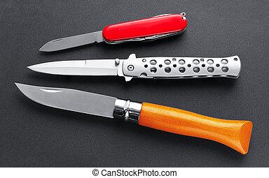 conjunto, cuchillos, tres