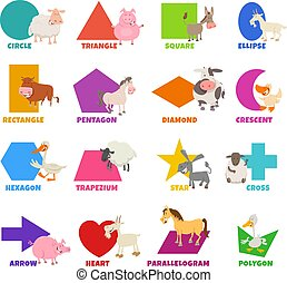 conjunto, culo, básico, formas, cultive animales, geométrico