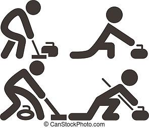 conjunto, curling, iconos