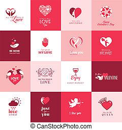 conjunto, día de valentines, iconos