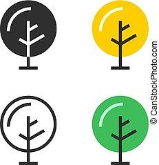 conjunto, de, árbol, iconos