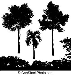 conjunto, de, árbol, silueta, vector