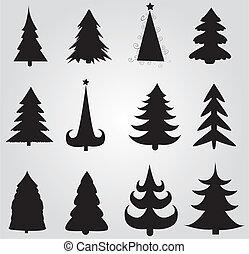 conjunto, de, árboles de navidad