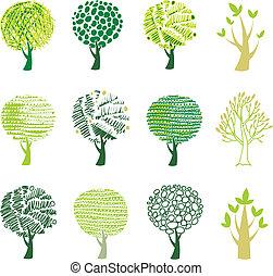 conjunto, de, árboles