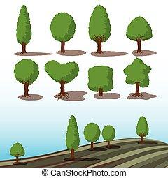 conjunto, de, árboles verdes, con, sombras