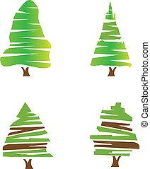 conjunto, de, árboles verdes, logotipo, acción