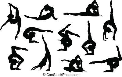conjunto, de, 11, yoga, asana's, siluetas
