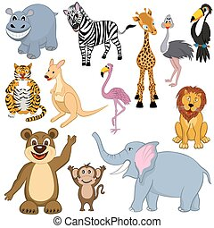 conjunto, de, 12, caricatura, animales