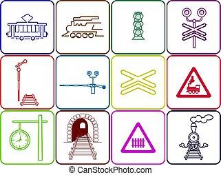 conjunto, de, 12, ferrocarril, iconos