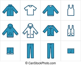 conjunto, de, 12, hombres, y, unisex, ropa, icons., fácil,...
