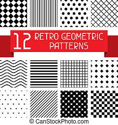 conjunto, de, 12, retro, geométrico, patterns.
