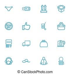 conjunto, de, 16, editable, resumen negocio, icons., incluye, símbolos, tal, como, 50, venta, caldera, dinero, bolsa, y, more., lata, ser, utilizado, para, tela, móvil, ui, y, infographic, design.