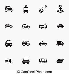 conjunto, de, 16, editable, transporte, icons., incluye, símbolos, tal, como, ciudad, unidad, envío, alguacil, y, more., lata, ser, utilizado, para, tela, móvil, ui, y, infographic, design.