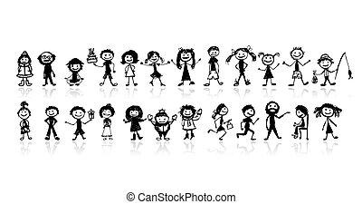 conjunto, de, 24, dibujo, gente, para, su, diseño