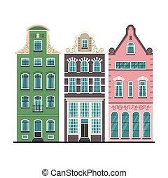 conjunto, de, 3, amsterdam, viejo, casas, caricatura, fachadas