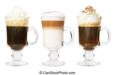 conjunto, de, 3, café irlandés