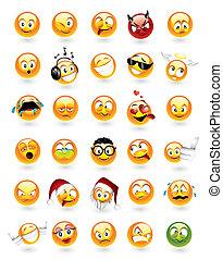 conjunto, de, 30, emoticons