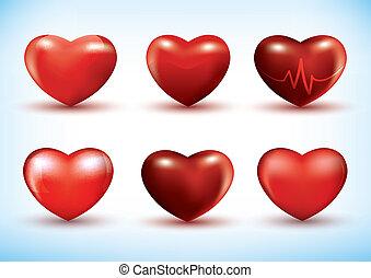 conjunto, de, 3d, corazones