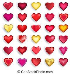 Corazones Conjunto 3d Valentines Conjunto Illustration