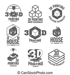 conjunto, de, 3d, impresora, insignias, logotypes, y, iconos