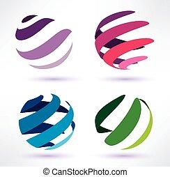 conjunto, de, 3d, resumen, globo, iconos