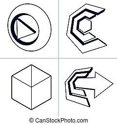 conjunto, de, 3d, resumen, iconos
