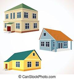 conjunto, de, 3d, vector, edificios.