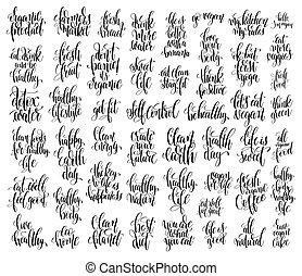 conjunto, de, 50, mano, letras, inscripciones, sobre, sano, vida