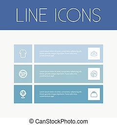 conjunto, de, 6, editable, compras, icons., incluye, símbolos, tal, como, espejo, camiseta, 50, venta, y, more., lata, ser, utilizado, para, tela, móvil, ui, y, infographic, design.