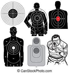 conjunto, de, 6, vector, blancos que tiran