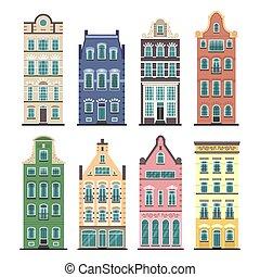 conjunto, de, 8, amsterdam, viejo, casas, caricatura, fachadas