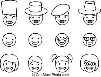 conjunto, de, abajo síndrome, niño, icono, en, lineal, estilo