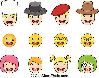 conjunto, de, abajo síndrome, niño, icono, en, plano, estilo
