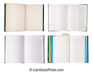 conjunto, de, abierto, cuadernos, aislado, blanco, plano de fondo