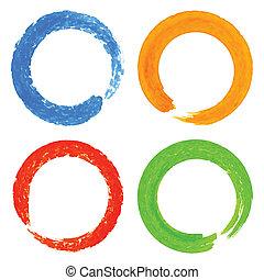 conjunto, de, acuarela, colorido, grunge, círculo, manchas