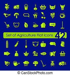 conjunto, de, agricultura, iconos