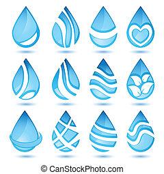 conjunto, de, agua, símbolos