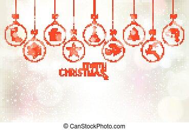 conjunto, de, ahorcadura, chucherías navidad, encima, plata, plano de fondo, con, luz, efectos
