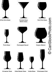 conjunto, de, alcohólico, vidrio