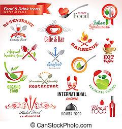 conjunto, de, alimento y bebida, iconos