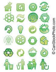 conjunto, de, ambiental, iconos