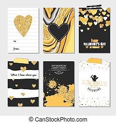 conjunto, de, amor, tarjetas, con, oro, resplandor, -, boda, día de valentín, invitación, -, en, vector