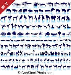 conjunto, de, animal, siluetas