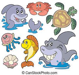 conjunto, de, animales marinos