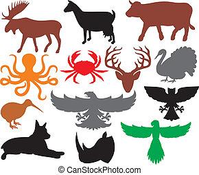 conjunto, de, animales, siluetas