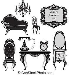 conjunto, de, antigüedad, muebles