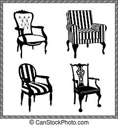 conjunto, de, antigüedad, sillas, siluetas