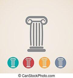 conjunto, de, antiguo, columna, iconos